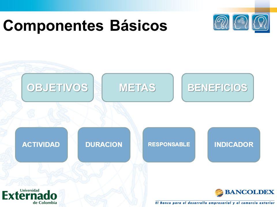 Componentes Básicos OBJETIVOSMETAS DURACIONINDICADOR RESPONSABLE ACTIVIDAD BENEFICIOS