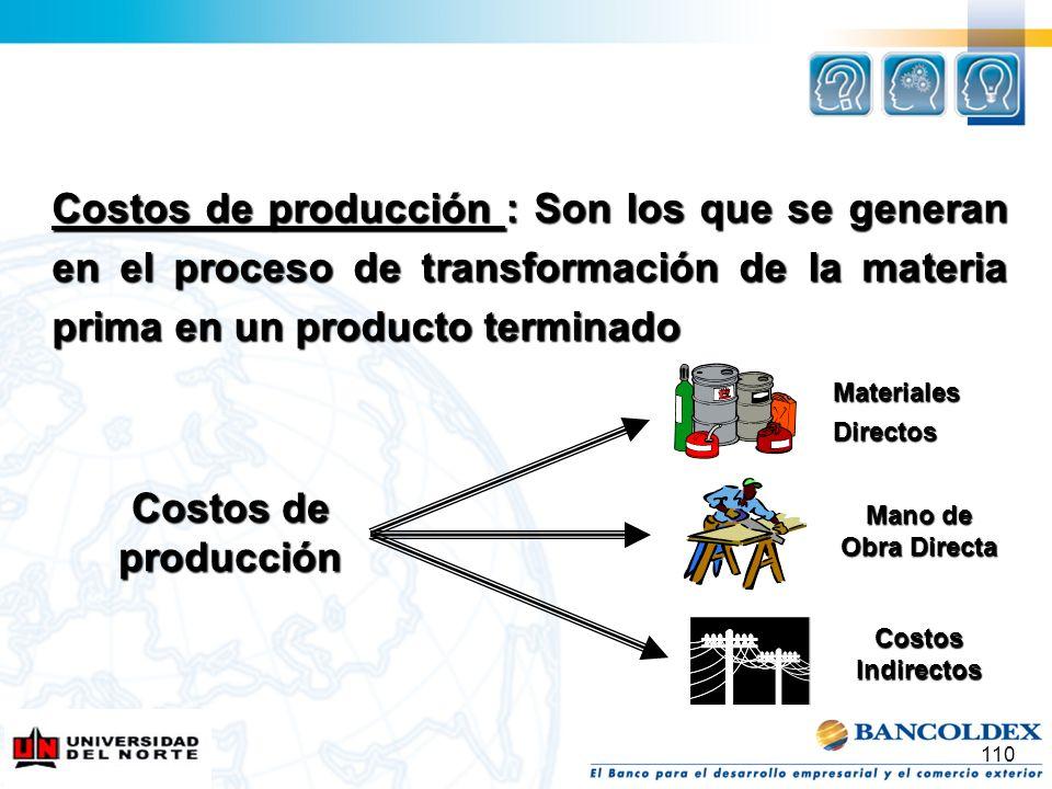 Costos de producción : Son los que se generan en el proceso de transformación de la materia prima en un producto terminado 110 Costos de producción Ma