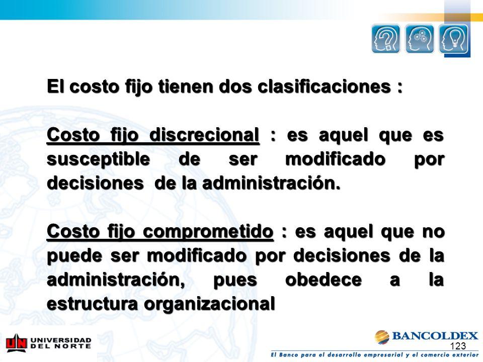 123 El costo fijo tienen dos clasificaciones : Costo fijo discrecional : es aquel que es susceptible de ser modificado por decisiones de la administra
