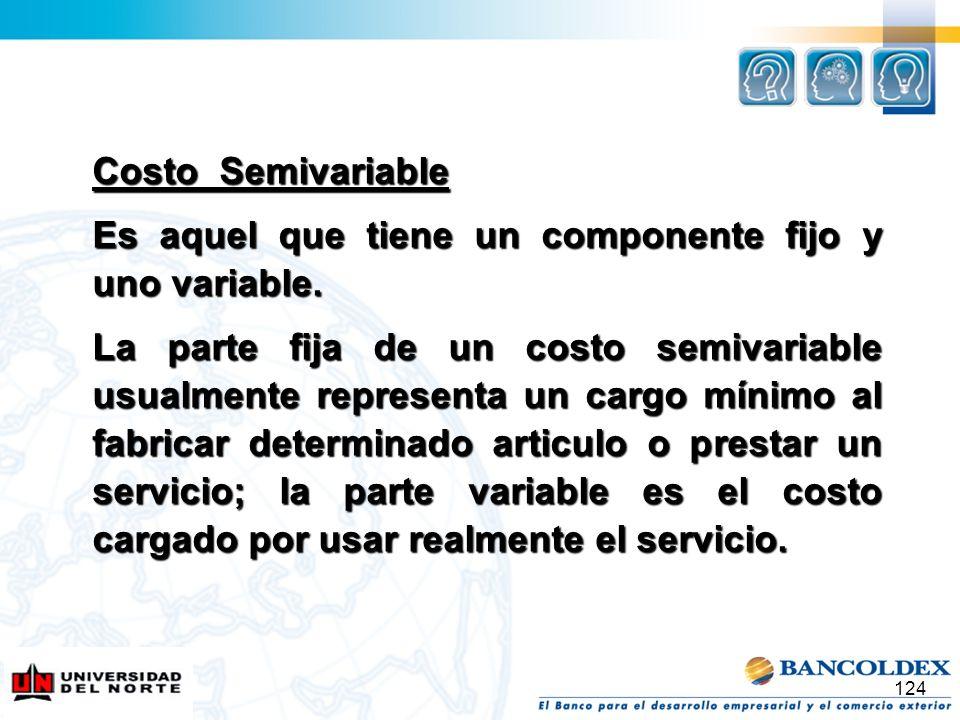 124 Costo Semivariable Es aquel que tiene un componente fijo y uno variable. La parte fija de un costo semivariable usualmente representa un cargo mín