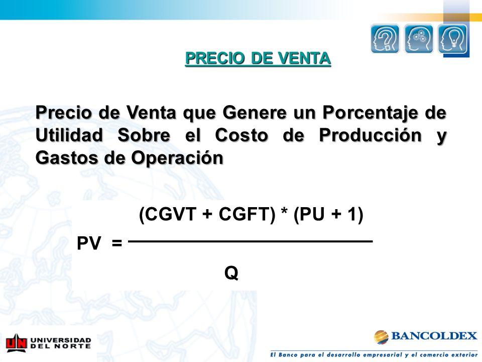PRECIO DE VENTA PRECIO DE VENTA Precio de Venta que Genere un Porcentaje de Utilidad Sobre el Costo de Producción y Gastos de Operación (CGVT + CGFT)