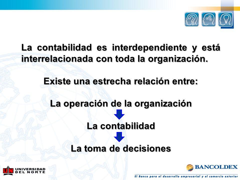 La contabilidad es interdependiente y está interrelacionada con toda la organización. Existe una estrecha relación entre: La operación de la organizac