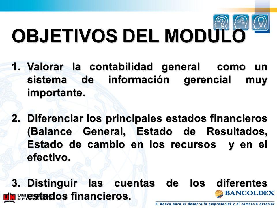 OBJETIVOS DEL MODULO 1.Valorar la contabilidad general como un sistema de información gerencial muy importante. 2.Diferenciar los principales estados