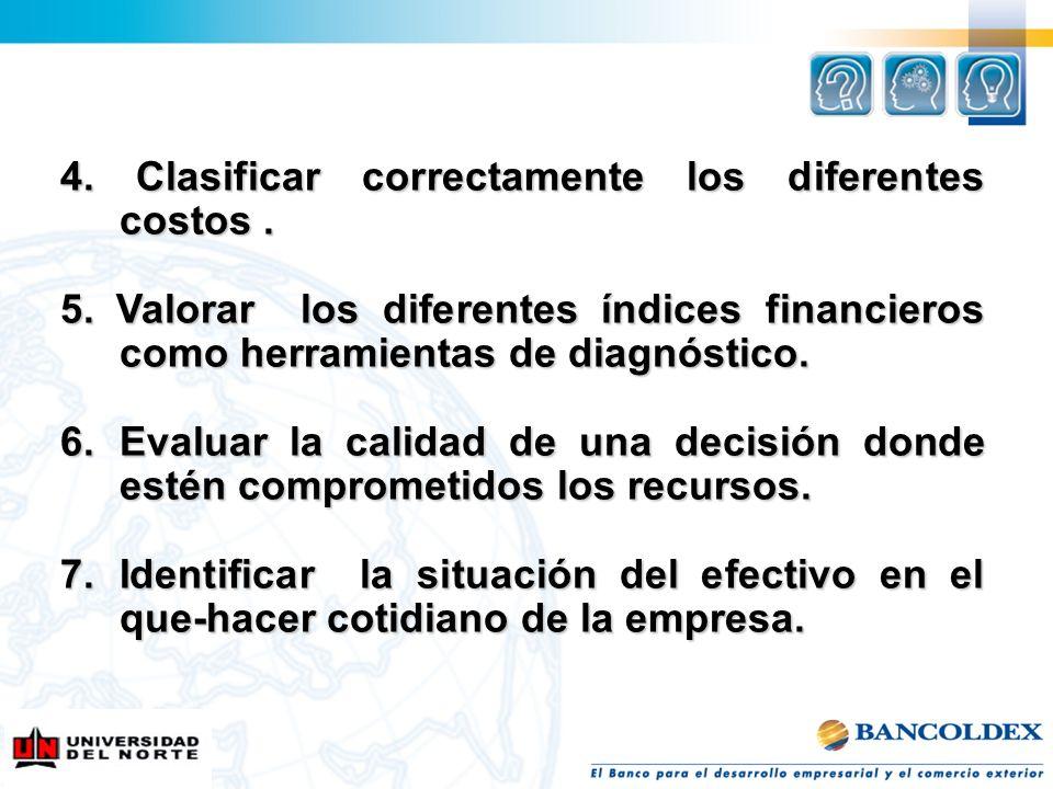 4. Clasificar correctamente los diferentes costos. 5. Valorar los diferentes índices financieros como herramientas de diagnóstico. 6.Evaluar la calida