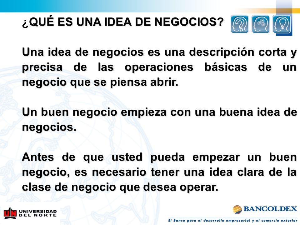 QUÉ ES UNA IDEA DE NEGOCIOS? ¿QUÉ ES UNA IDEA DE NEGOCIOS? Una idea de negocios es una descripción corta y precisa de las operaciones básicas de un ne