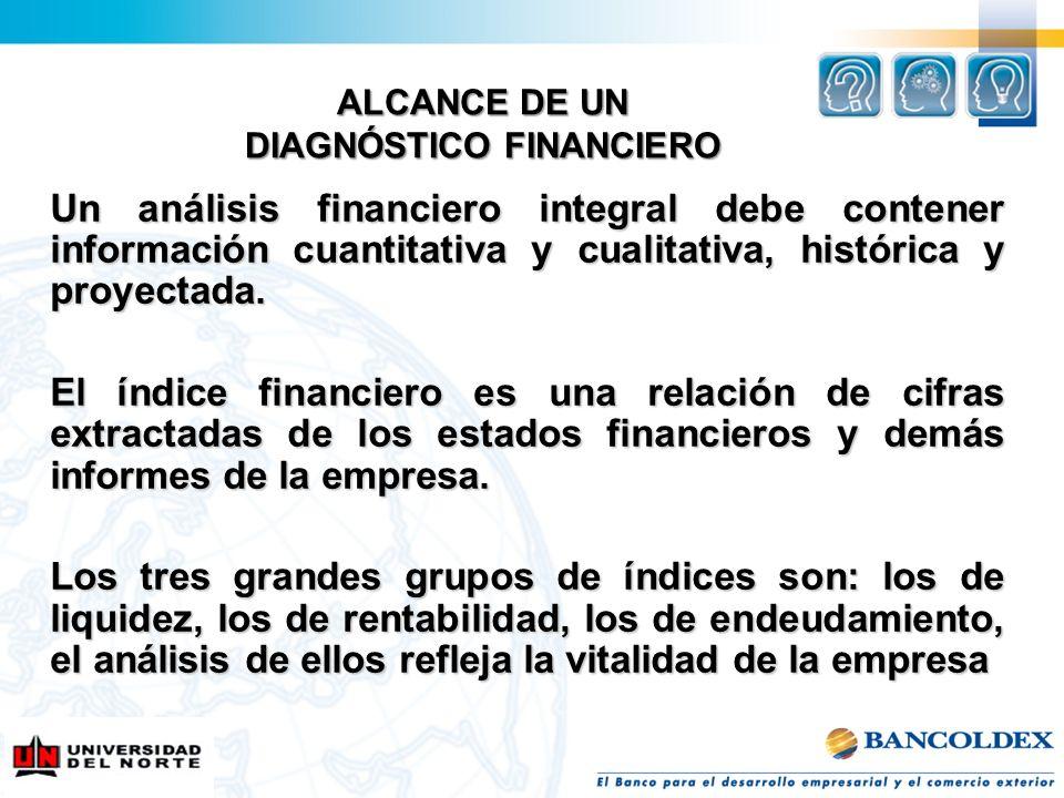 Un análisis financiero integral debe contener información cuantitativa y cualitativa, histórica y proyectada. El índice financiero es una relación de