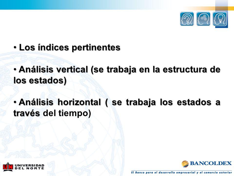 Los índices pertinentes Los índices pertinentes Análisis vertical (se trabaja en la estructura de los estados) Análisis vertical (se trabaja en la est