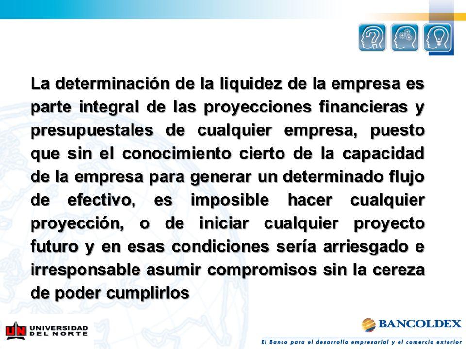 La determinación de la liquidez de la empresa es parte integral de las proyecciones financieras y presupuestales de cualquier empresa, puesto que sin