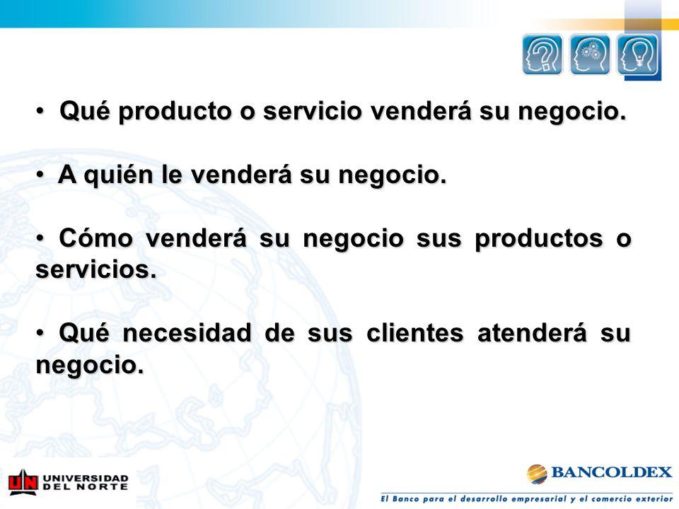 Qué producto o servicio venderá su negocio. Qué producto o servicio venderá su negocio. A quién le venderá su negocio. A quién le venderá su negocio.