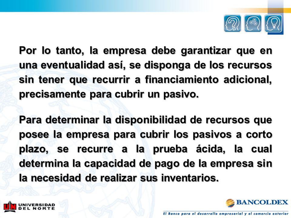 Por lo tanto, la empresa debe garantizar que en una eventualidad así, se disponga de los recursos sin tener que recurrir a financiamiento adicional, p