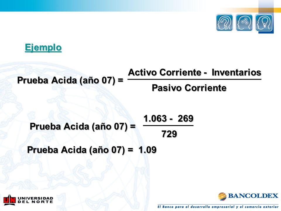 Activo Corriente - Inventarios Activo Corriente - Inventarios Prueba Acida (año 07) = Prueba Acida (año 07) = Pasivo Corriente Pasivo Corriente Ejempl