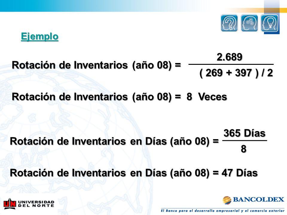 2.689 2.689 Rotación de Inventarios (año 08) = Rotación de Inventarios (año 08) = ( 269 + 397 ) / 2 ( 269 + 397 ) / 2 Rotación de Inventarios (año 08)