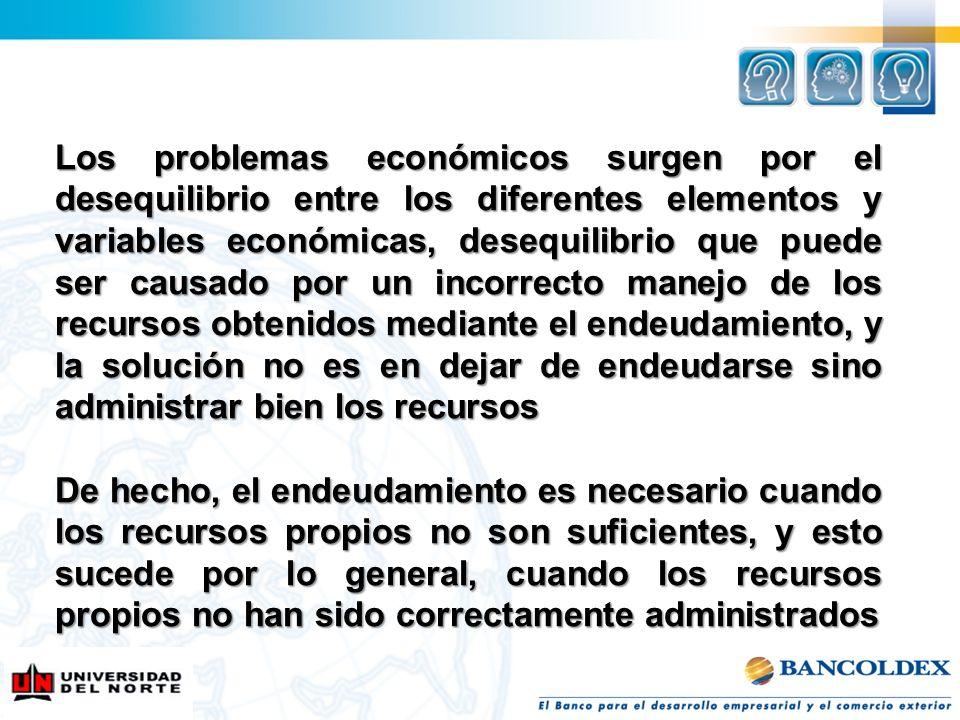 Los problemas económicos surgen por el desequilibrio entre los diferentes elementos y variables económicas, desequilibrio que puede ser causado por un