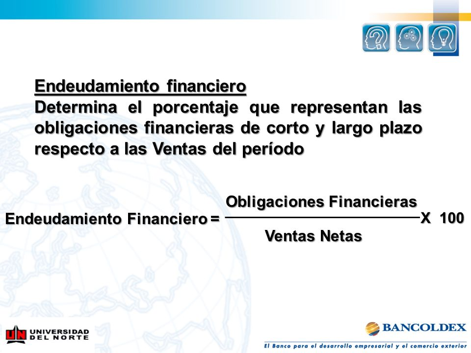 Endeudamiento financiero Determina el porcentaje que representan las obligaciones financieras de corto y largo plazo respecto a las Ventas del período