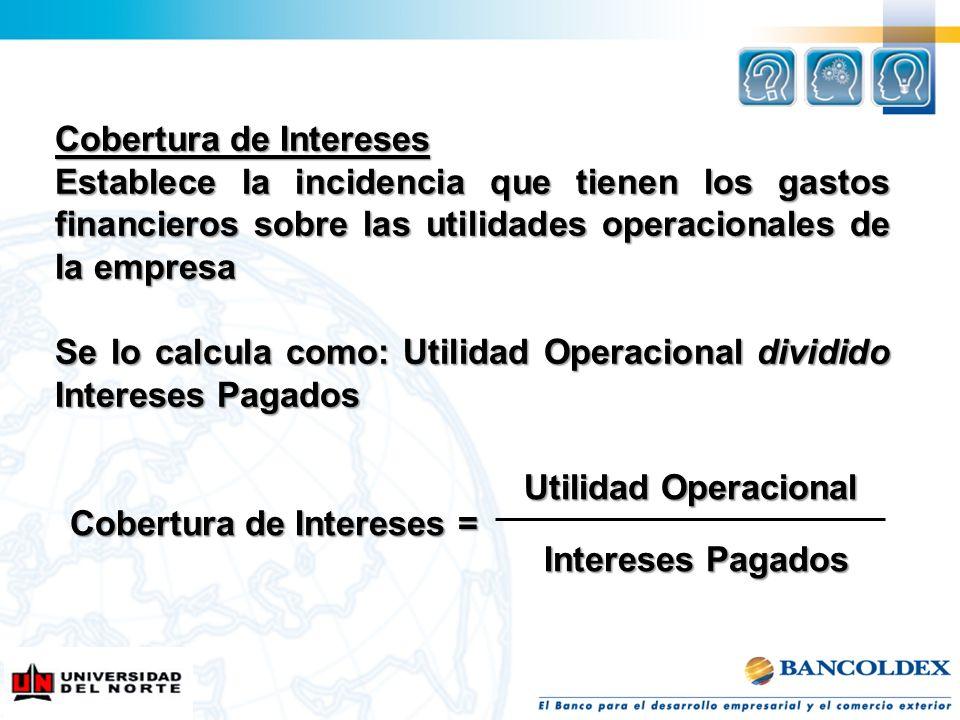 Cobertura de Intereses Establece la incidencia que tienen los gastos financieros sobre las utilidades operacionales de la empresa Se lo calcula como: