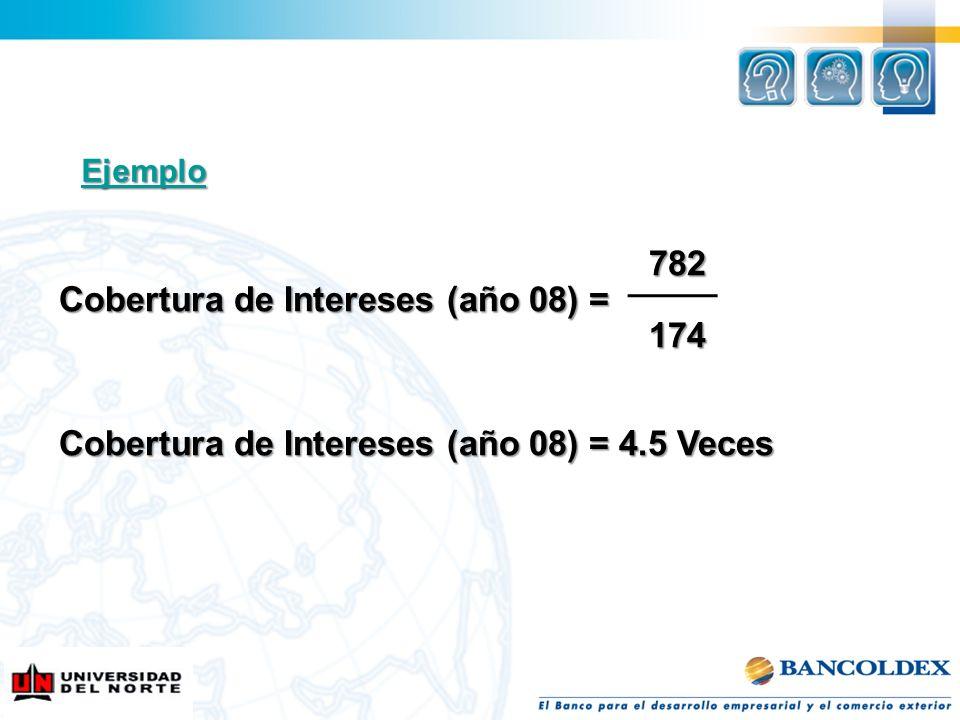 782 782 Cobertura de Intereses (año 08) = 174 174 Cobertura de Intereses (año 08) = 4.5 Veces Ejemplo