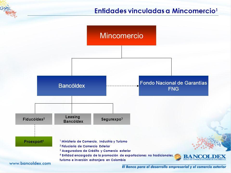 Bancóldex Mincomercio Fiducóldex 2 Fondo Nacional de Garantías FNG Leasing Bancóldex Segurexpo 3 Proexport 4 Entidades vinculadas a Mincomercio 1 1 Mi