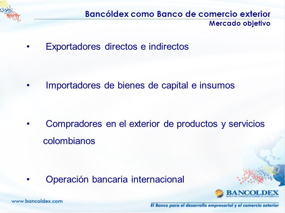 Bancóldex como Banco de comercio exterior Mercado objetivo Exportadores directos e indirectos Importadores de bienes de capital e insumos Compradores