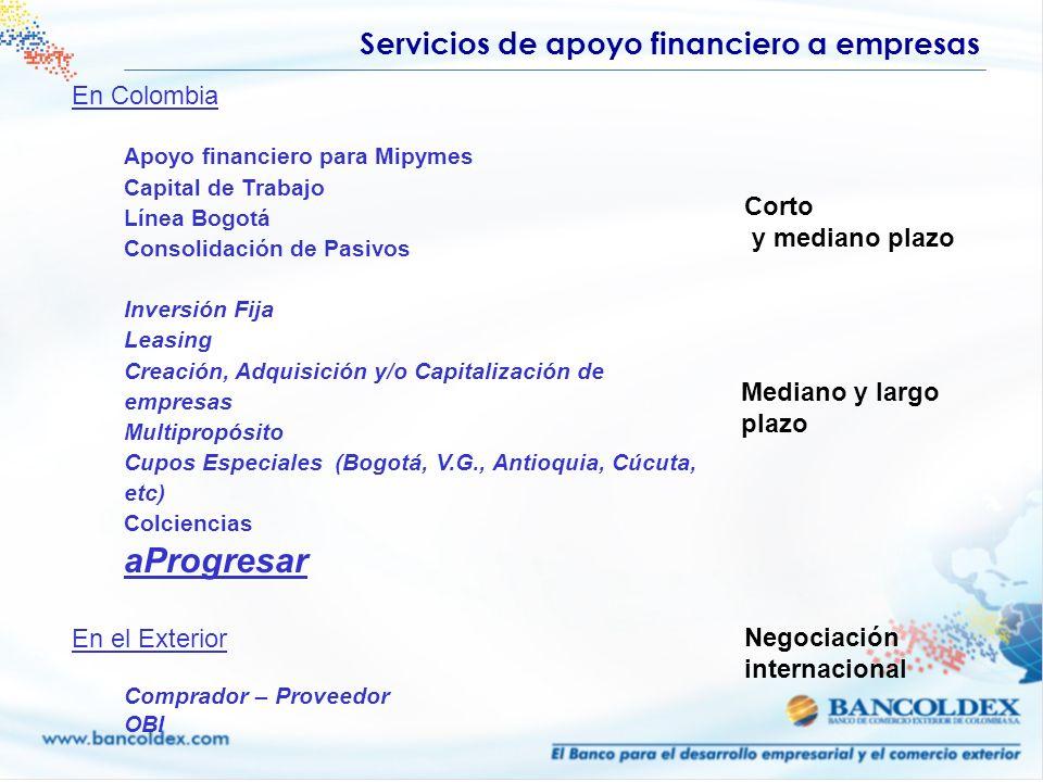 En Colombia Apoyo financiero para Mipymes Capital de Trabajo Línea Bogotá Consolidación de Pasivos Inversión Fija Leasing Creación, Adquisición y/o Ca