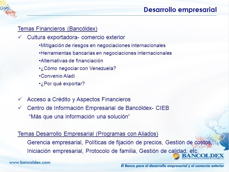 Temas Financieros (Bancóldex) Cultura exportadora- comercio exterior Mitigación de riesgos en negociaciones internacionales Herramientas bancarias en