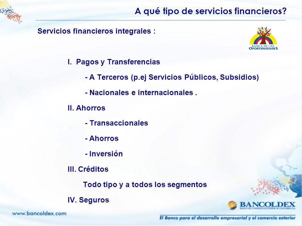 Servicios financieros integrales : I. Pagos y Transferencias - A Terceros (p.ej Servicios Públicos, Subsidios) - Nacionales e internacionales. II. Aho