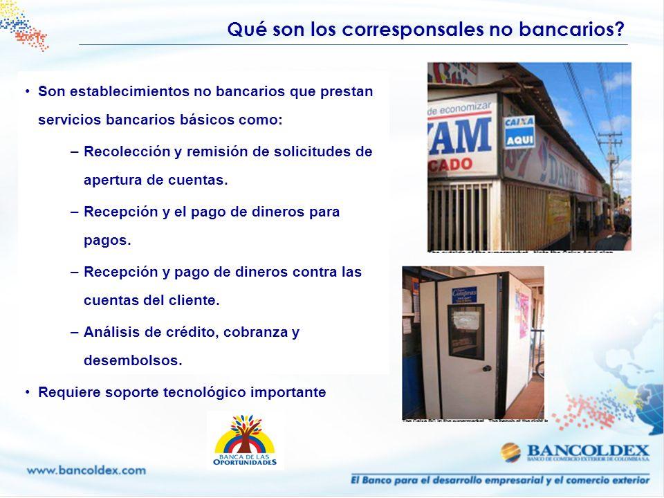 Son establecimientos no bancarios que prestan servicios bancarios básicos como: –Recolección y remisión de solicitudes de apertura de cuentas. –Recepc
