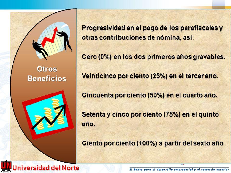 Universidad del Norte OtrosBeneficios Progresividad en el pago de los parafiscales y otras contribuciones de nómina, así: Cero (0%) en los dos primero