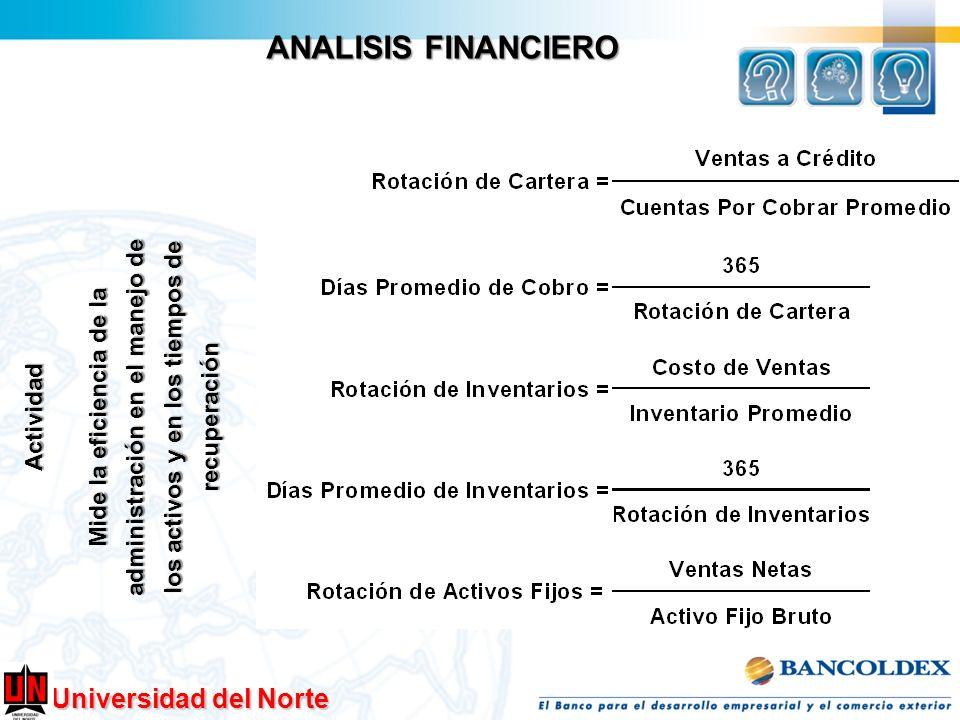 Universidad del Norte ANALISIS FINANCIERO Actividad Mide la eficiencia de la administración en el manejo de los activos y en los tiempos de recuperaci