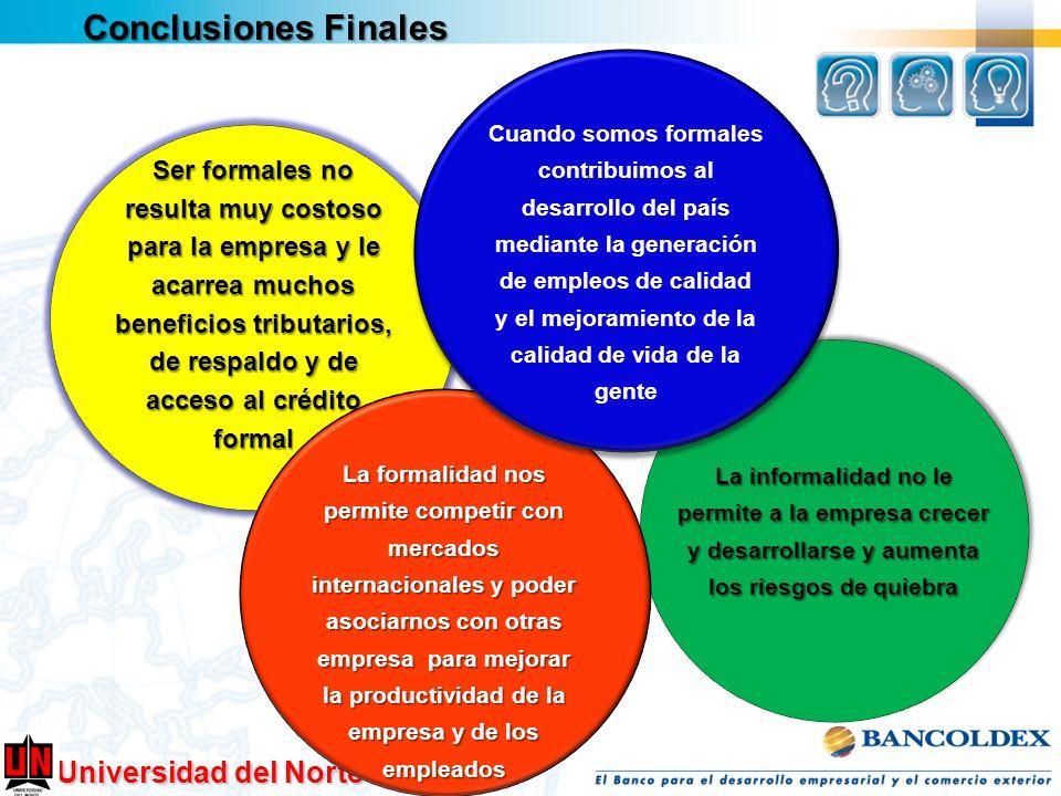 Universidad del Norte Conclusiones Finales Ser formales no resulta muy costoso para la empresa y le acarrea muchos beneficios tributarios, de respaldo