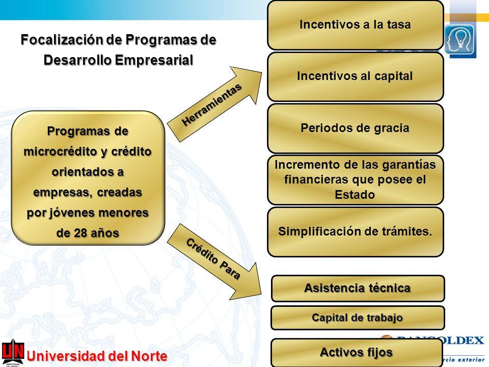 Universidad del Norte Programas de microcrédito y crédito orientados a empresas, creadas por jóvenes menores de 28 años Herramientas Incentivos a la t