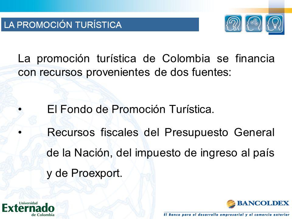 La promoción turística de Colombia se financia con recursos provenientes de dos fuentes: El Fondo de Promoción Turística. Recursos fiscales del Presup