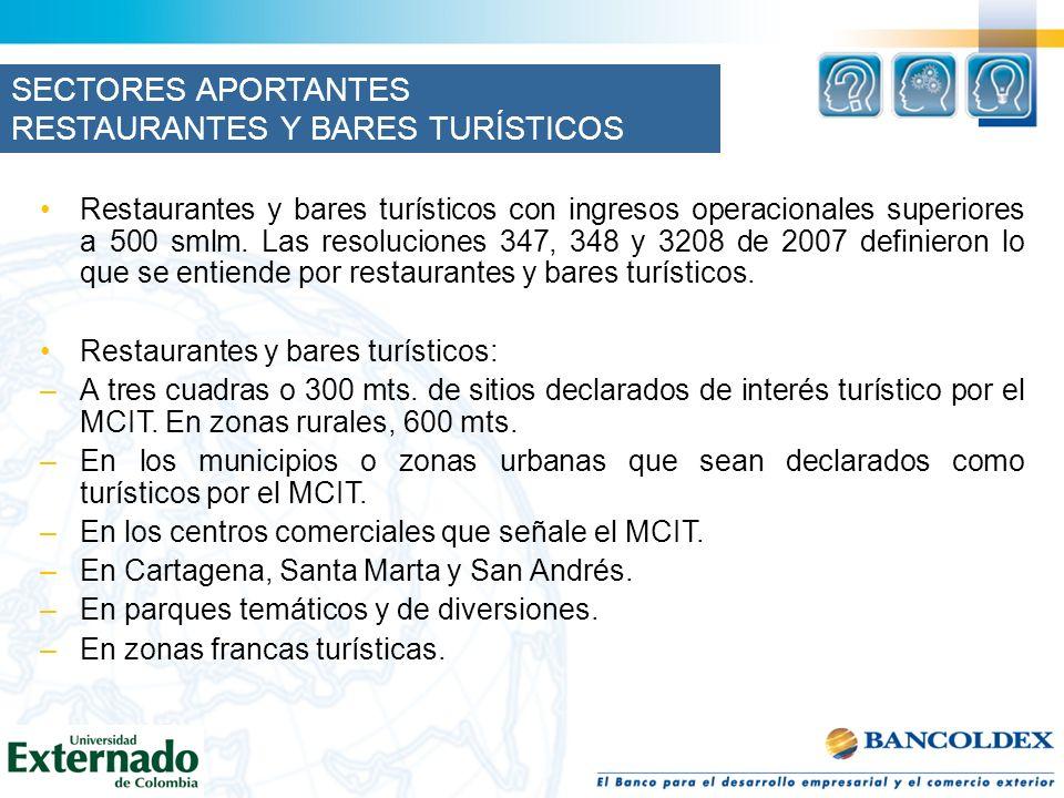 RESTAURANTES Y BARES TURÍSTICOS Restaurantes y bares turísticos con ingresos operacionales superiores a 500 smlm. Las resoluciones 347, 348 y 3208 de