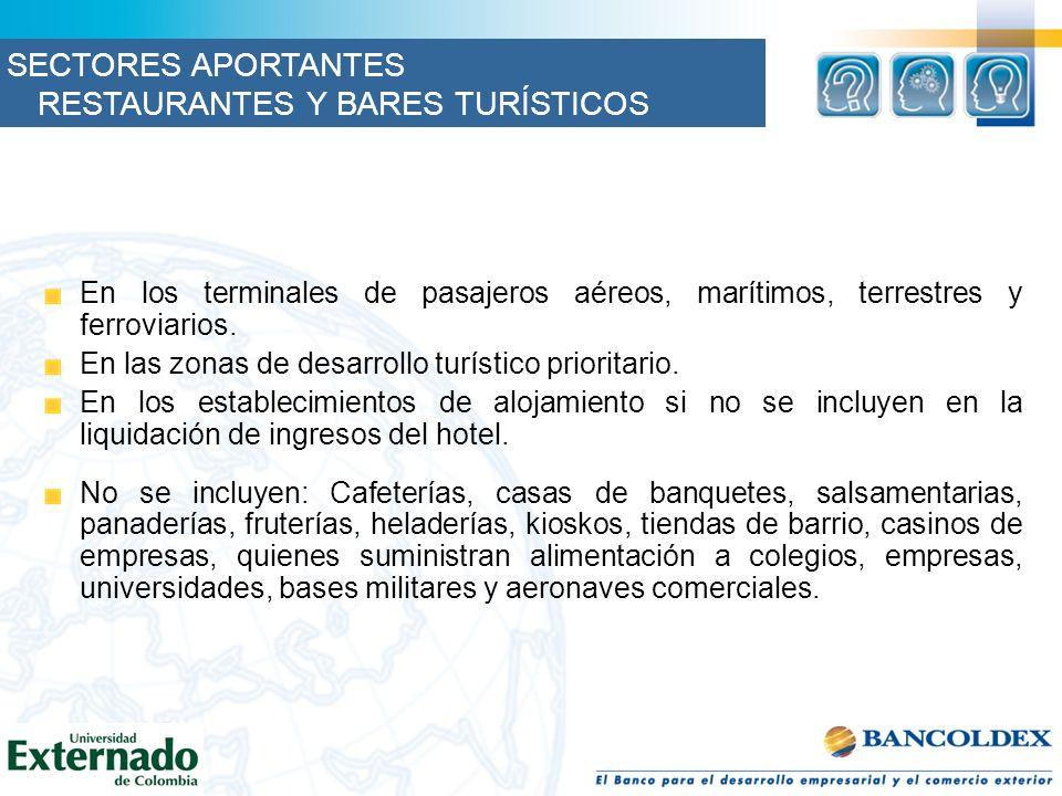 En los terminales de pasajeros aéreos, marítimos, terrestres y ferroviarios. En las zonas de desarrollo turístico prioritario. En los establecimientos