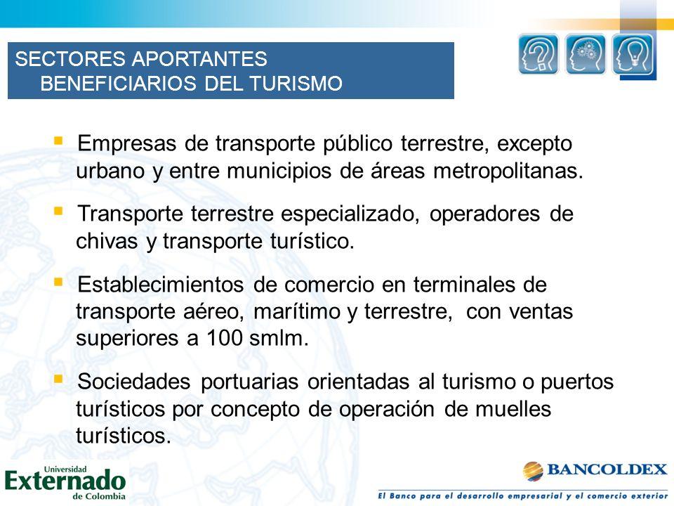 SECTORES APORTANTES BENEFICIARIOS DEL TURISMO Empresas de transporte público terrestre, excepto urbano y entre municipios de áreas metropolitanas. Tra