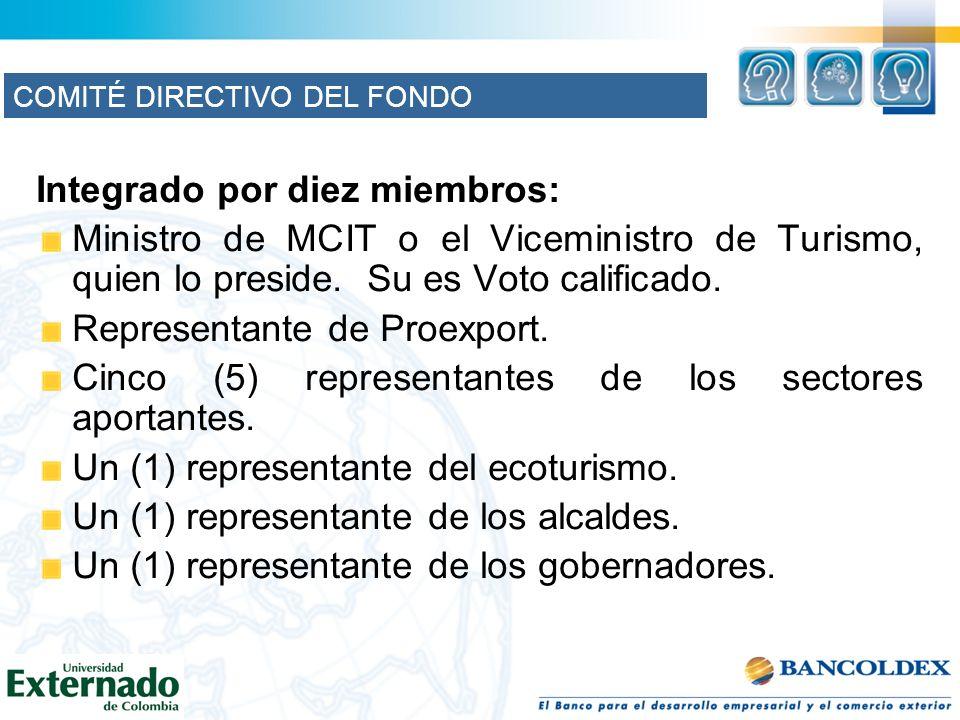 Integrado por diez miembros: Ministro de MCIT o el Viceministro de Turismo, quien lo preside. Su es Voto calificado. Representante de Proexport. Cinco
