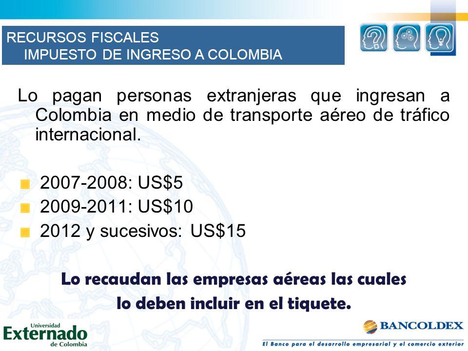 Lo pagan personas extranjeras que ingresan a Colombia en medio de transporte aéreo de tráfico internacional. 2007-2008: US$5 2009-2011: US$10 2012 y s