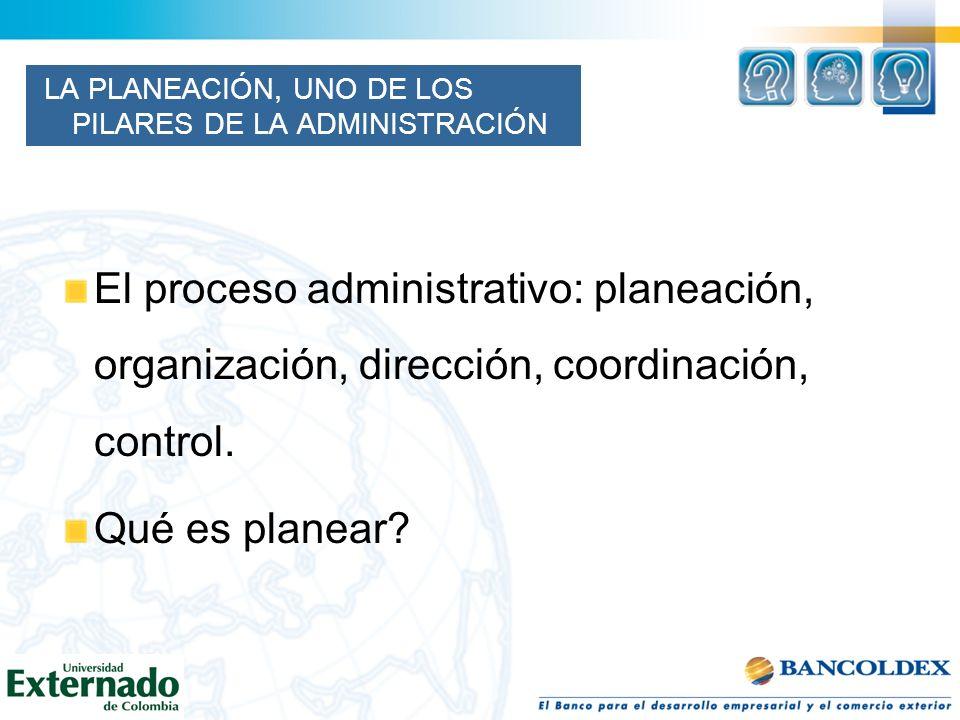 LA PLANEACIÓN, UNO DE LOS PILARES DE LA ADMINISTRACIÓN El proceso administrativo: planeación, organización, dirección, coordinación, control. Qué es p