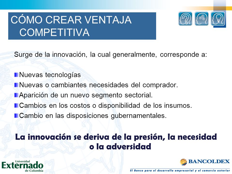 CÓMO CREAR VENTAJA COMPETITIVA Surge de la innovación, la cual generalmente, corresponde a: Nuevas tecnologías Nuevas o cambiantes necesidades del com