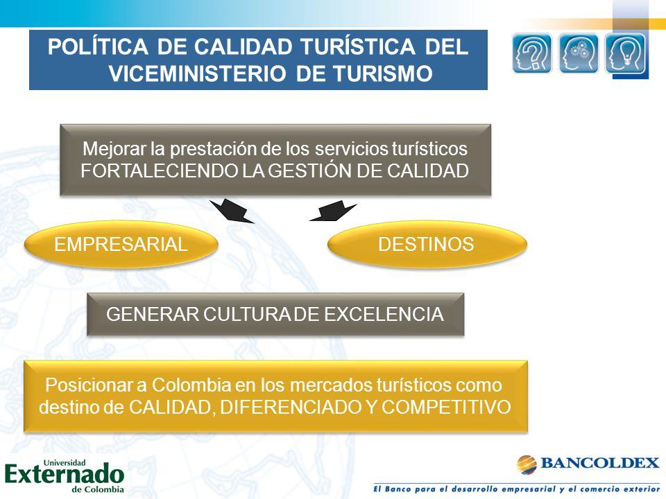 POLÍTICA DE CALIDAD TURÍSTICA DEL VICEMINISTERIO DE TURISMO Mejorar la prestación de los servicios turísticos FORTALECIENDO LA GESTIÓN DE CALIDAD Mejo