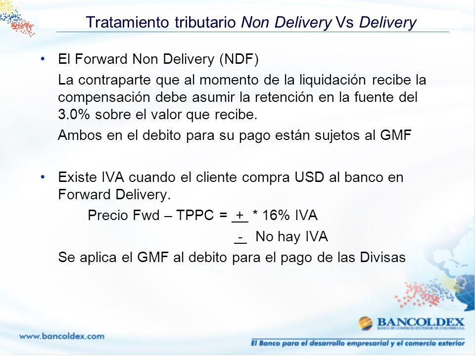 Tratamiento tributario Non Delivery Vs Delivery El Forward Non Delivery (NDF) La contraparte que al momento de la liquidación recibe la compensación d