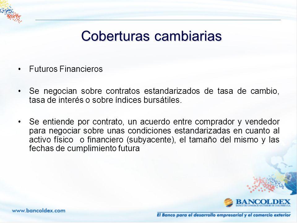 Futuros Financieros Se negocian sobre contratos estandarizados de tasa de cambio, tasa de interés o sobre índices bursátiles. Se entiende por contrato