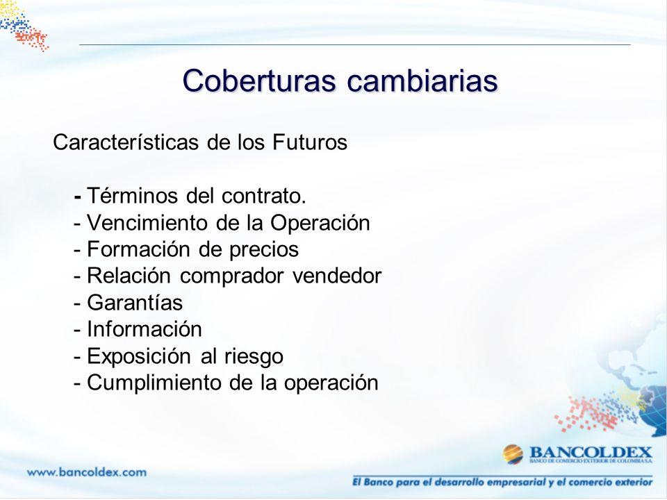 Características de los Futuros - Términos del contrato. - Vencimiento de la Operación - Formación de precios - Relación comprador vendedor - Garantías