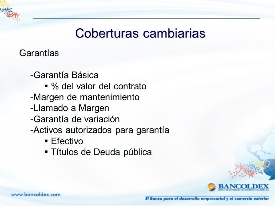 Garantías -Garantía Básica % del valor del contrato -Margen de mantenimiento -Llamado a Margen -Garantía de variación -Activos autorizados para garant