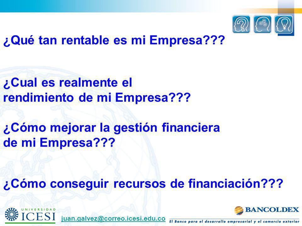 ¿Cómo conseguir recursos de financiación??? ¿Cómo mejorar la gestión financiera de mi Empresa??? ¿Qué tan rentable es mi Empresa??? juan.galvez@correo