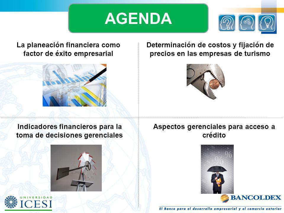 Indicadores financieros para la toma de decisiones gerenciales Aspectos gerenciales para acceso a crédito AGENDA Determinación de costos y fijación de