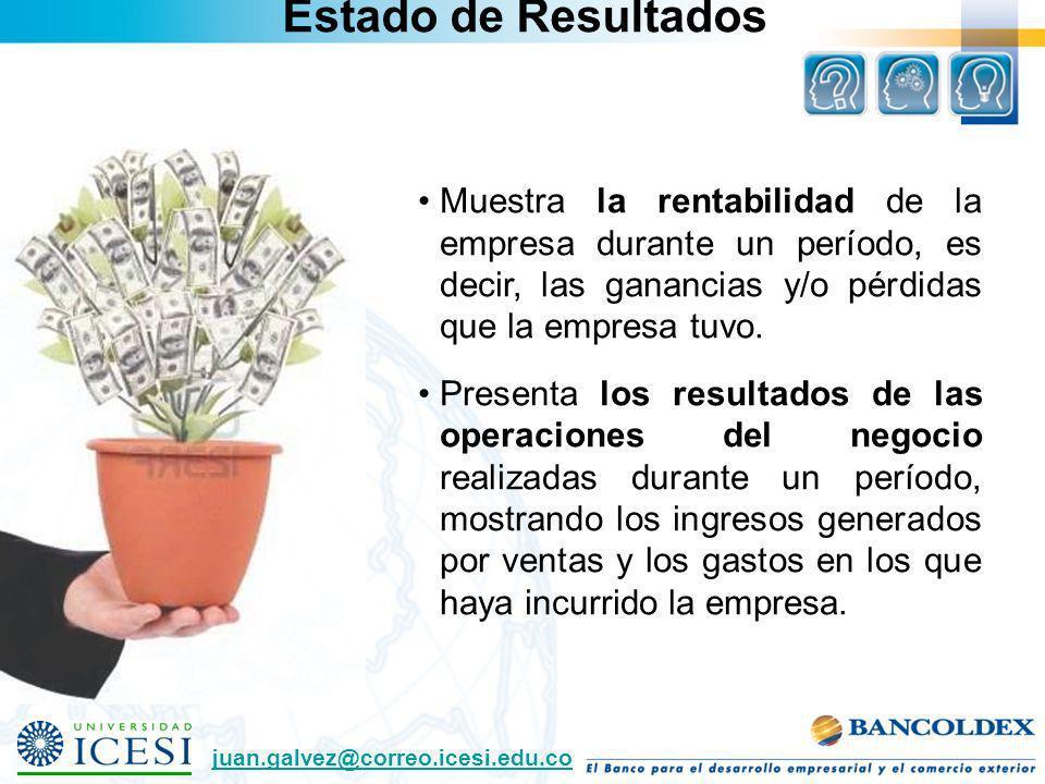 Estado de Resultados Muestra la rentabilidad de la empresa durante un período, es decir, las ganancias y/o pérdidas que la empresa tuvo. Presenta los