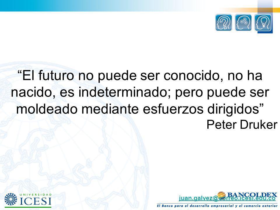 El futuro no puede ser conocido, no ha nacido, es indeterminado; pero puede ser moldeado mediante esfuerzos dirigidos Peter Druker juan.galvez@correo.