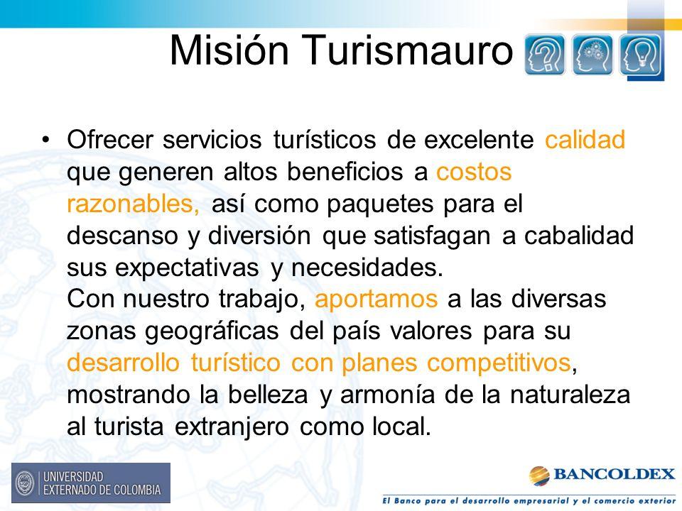 Misión Turismauro Ofrecer servicios turísticos de excelente calidad que generen altos beneficios a costos razonables, así como paquetes para el descan