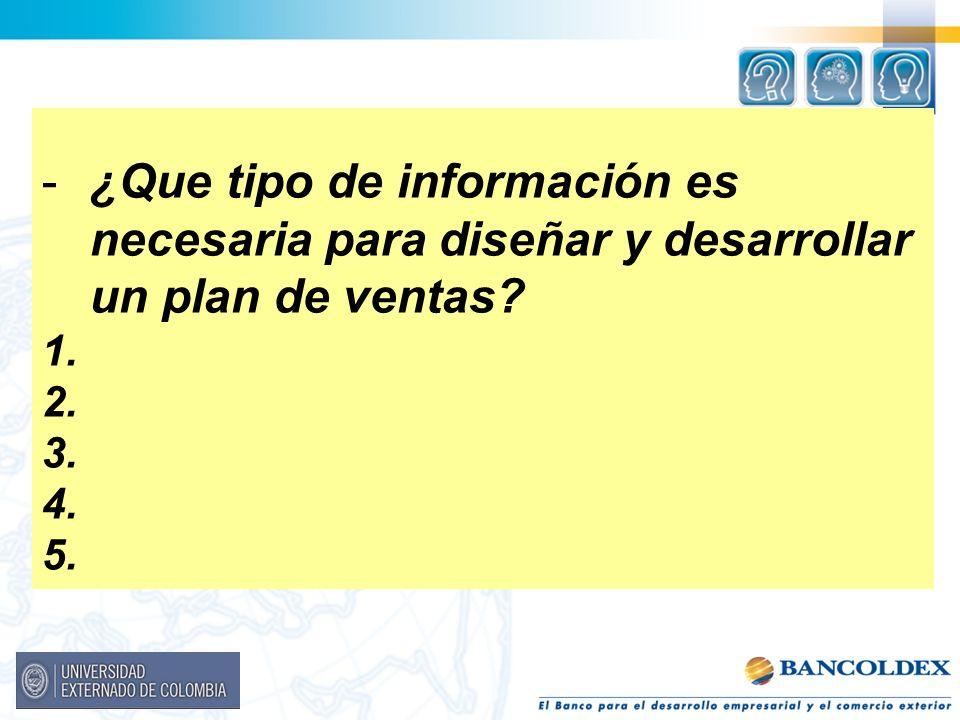 -¿Que tipo de información es necesaria para diseñar y desarrollar un plan de ventas? 1. 2. 3. 4. 5.