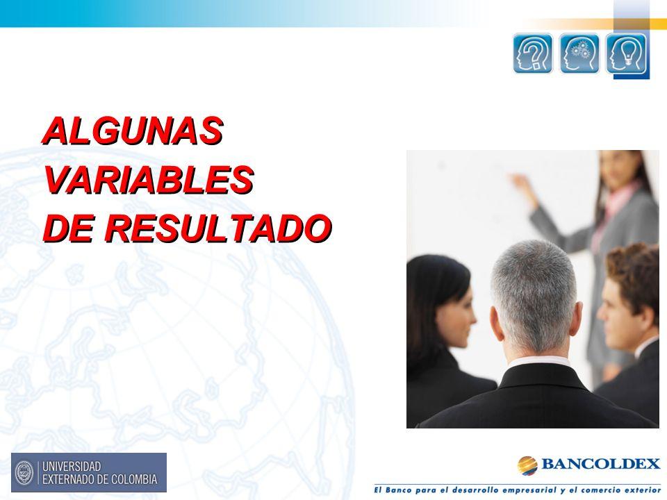 ALGUNAS VARIABLES DE RESULTADO ALGUNAS VARIABLES DE RESULTADO